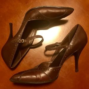 BCBGirls Brown Leather Pumps Saddle Style